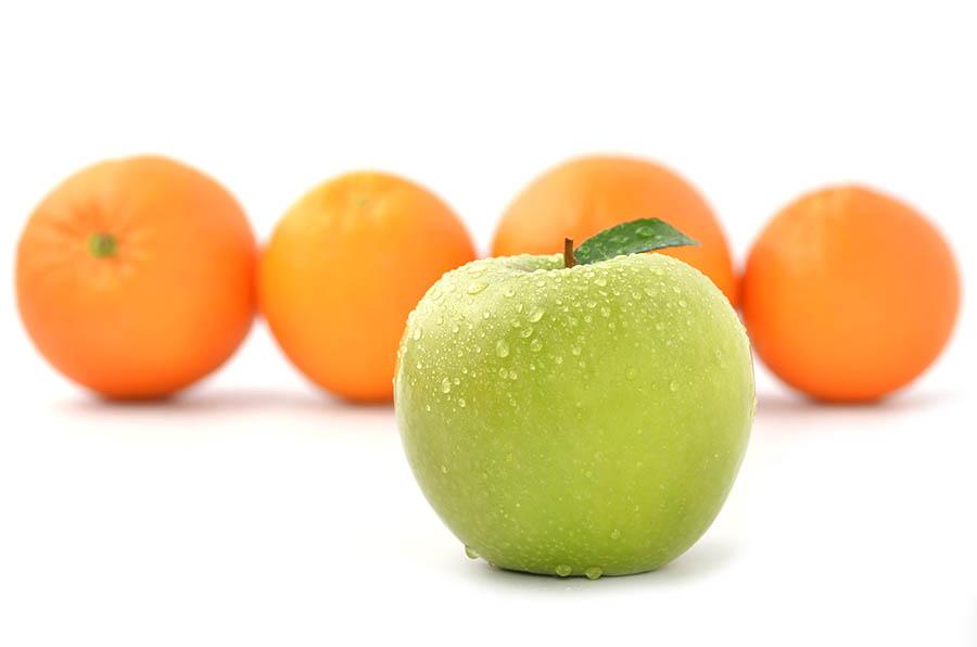 Comparing apples with oranges
