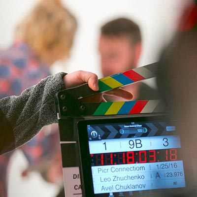 Clapperboard during filming